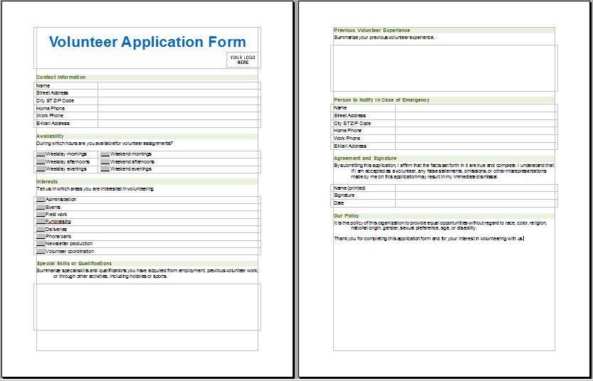 Medical Services Volunteer Application Form Volunteer Application Application Form Medical Services