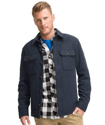 Signature Lined Wool-Blend Shirt Jacket, Slim Fit: Shirts | Free ...