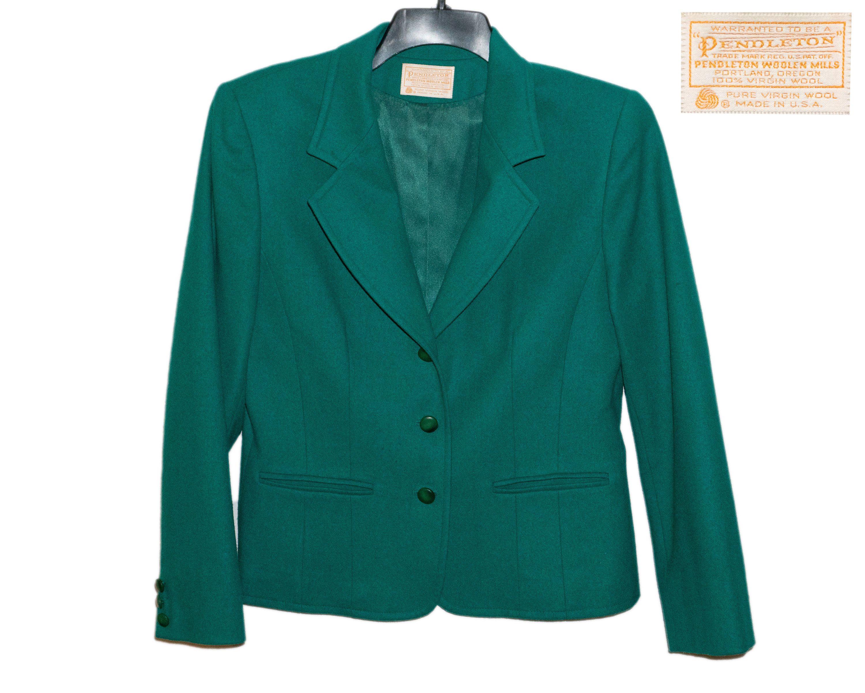seventies Pendleton red wool fitted blazer suit coat vintage jacket