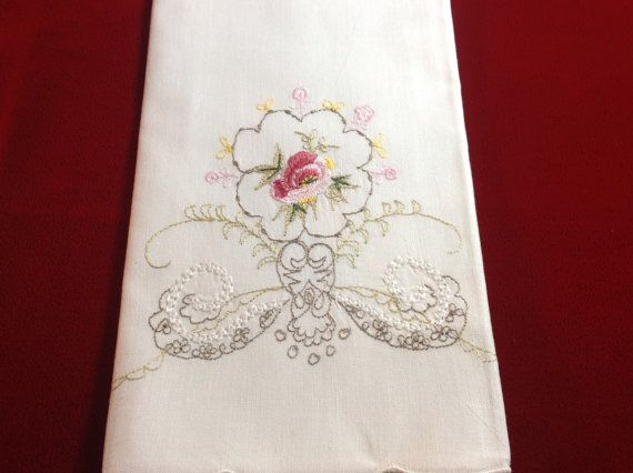 Vintage Style Embroidered Hand Towels by EmbroideredHElegance