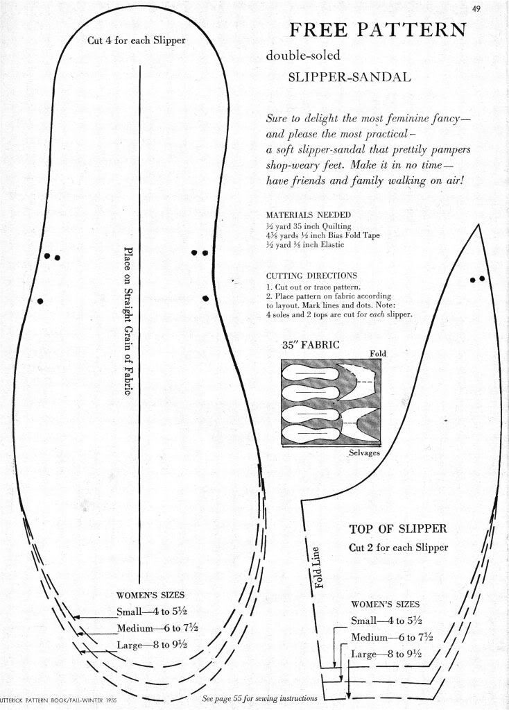 78827cea7 what-i-found  Free Pattern for Double-Soled Slipper-Sandal! 1955 ...
