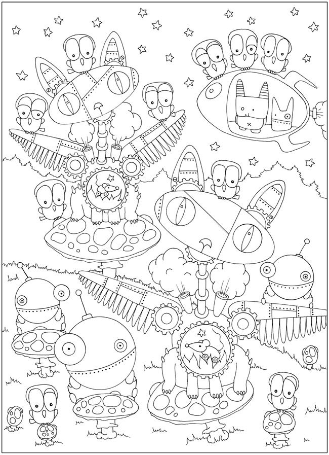 Coloriage Mandala Monstre.Creative Haven Curious Creatures Dover Publications Samples