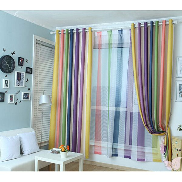 Rainbow Multi-color Blackout Striped Curtains For Bedroom ...