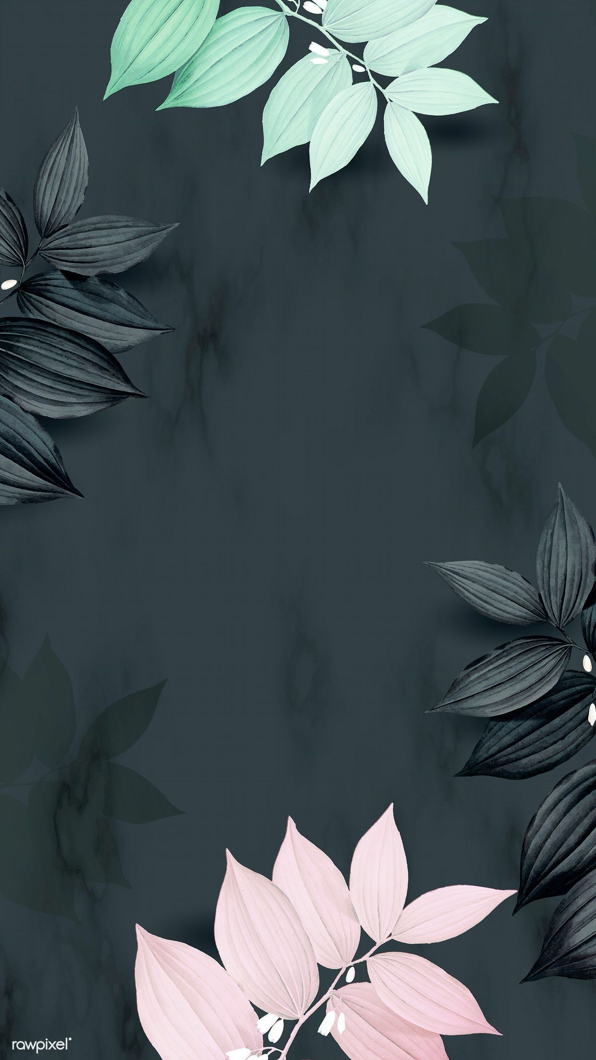 Download premium vector of Tropical botanical leaves mobile phone