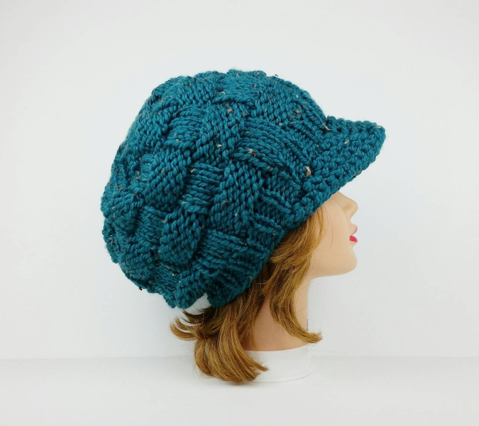 Sun Visor Hat Slouchy Beanie Hats For Women Blue Cap Visor Cap Newsboy Cap Knit Hat Women S Hat Newsboy Hat Pattern Hat Knitting Patterns Knitted Hats