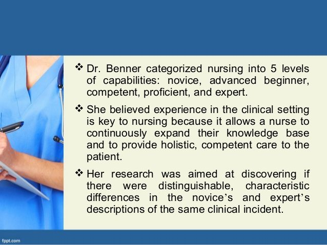 "patricia benner theory Novice to expert: patricia benner 3 benner""s theory highlights the importance of clinical experience in developing expertise a new graduate nurse, or ""novice"", depends heavily on book knowledge and the materials."