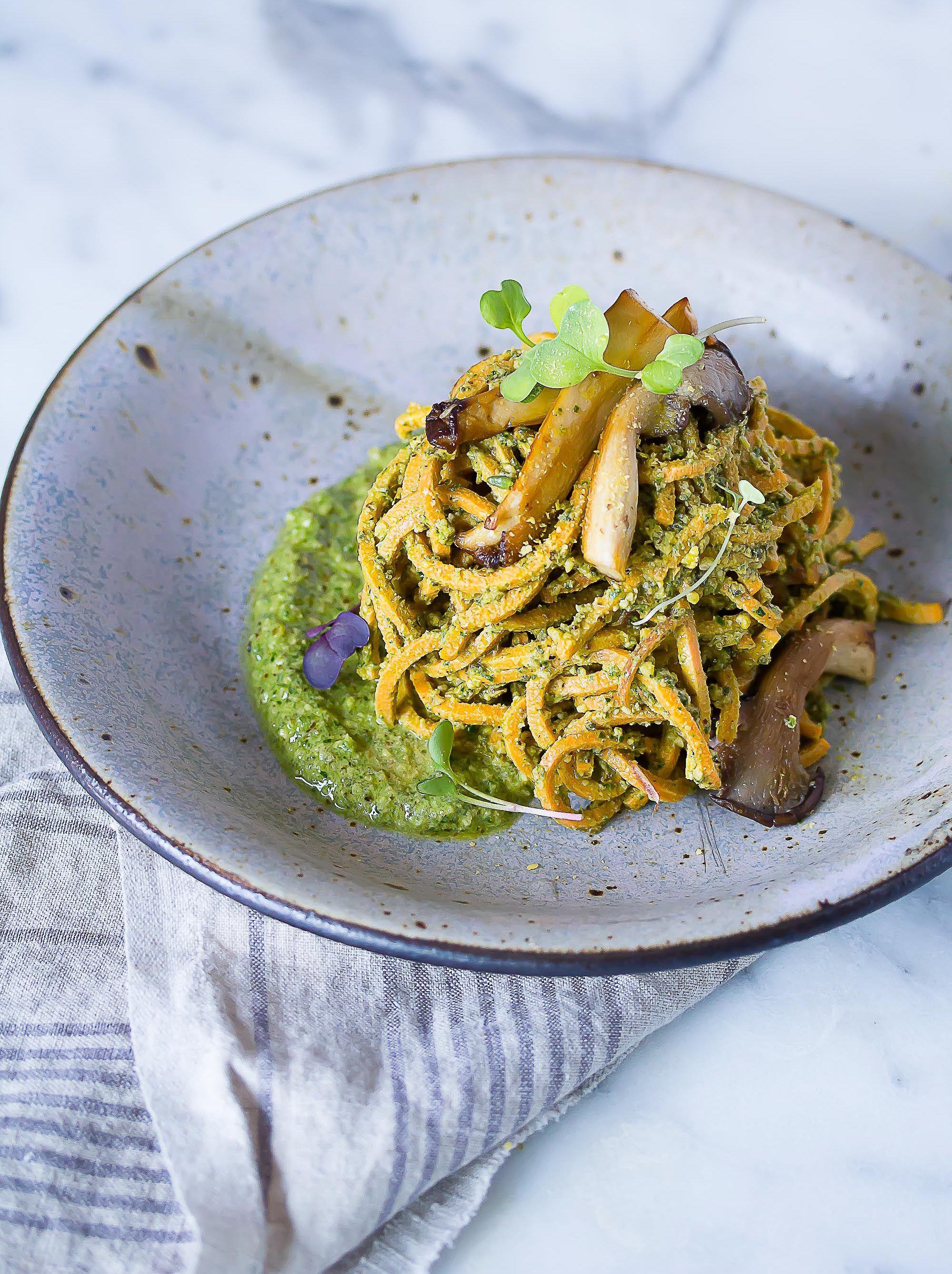 Raw Vegan Sweet Potato Noodles With Sage Pesto Raw Vegan Recipes Raw Food Recipes Vegan Sweet Potato