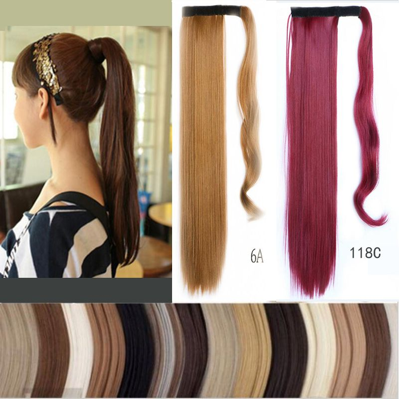 Hot 1 Pc 60cm Ponytail Clip In Tail Hair Extension Wrap On Hair Piece Straight Style 100 High Quality Ponytails Free Ship Hair Piece Hair Extensions Ponytail