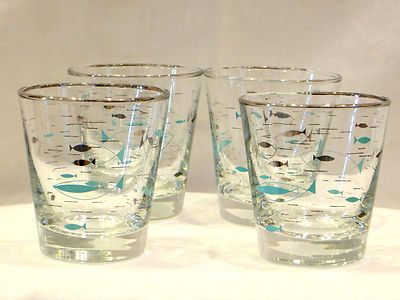 Vtg Atomic Mid Century Libbey Fish Glasses Bar Juice Silver Turquoise Eames | eBay