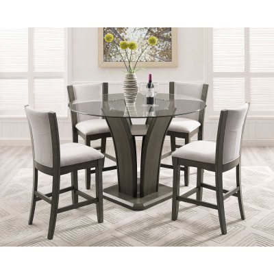Roundhill Furniture Kecco 5 Piece Round Fabric Counter Height