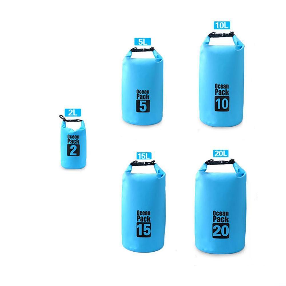 2/5/10/15/20L Waterproof Dry Bag Outdoor Sport Backpack Kayaking Floating Sack - Blue