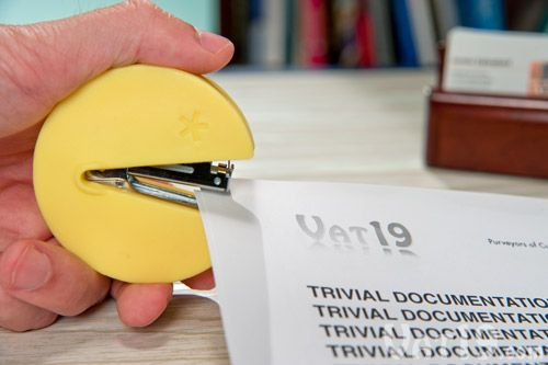 Inspired by Pac-Man, the Stap-Man Stapler is a fully functional mini stapler.