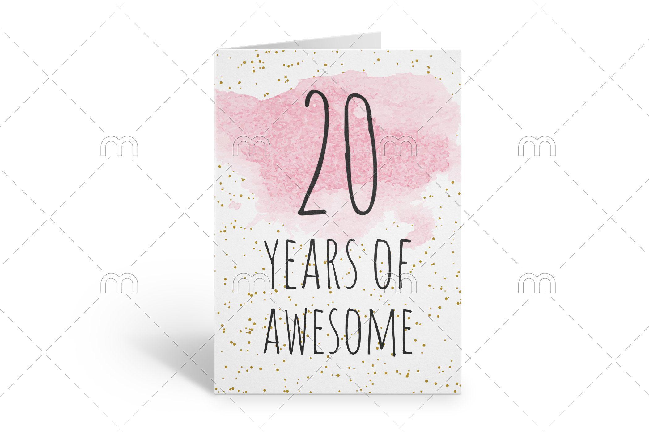Printable 20th Birthday Card Birthday Card Printable Instant Etsy In 2021 Birthday Card Printable Download Birthday Cards 40th Birthday Cards