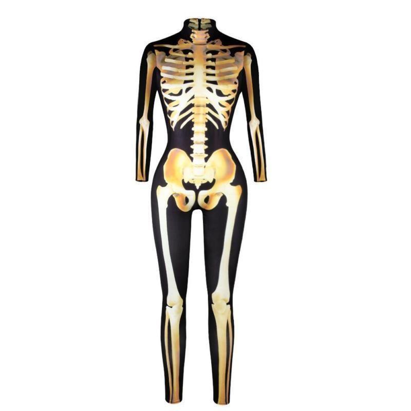 Women Bone Frame Skeleton Jumpsuit Fancy Dead Halloween Bodysuit Cosplay Costume