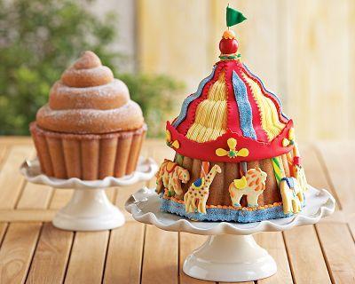 circus tent cake with a cupcake cake pan & circus tent cake with a cupcake cake pan | Circus/Carnival Party ...