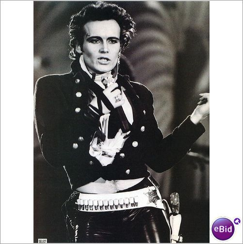 Adam Ant pin up poster from Select Magazine. Leather outfit black and white
