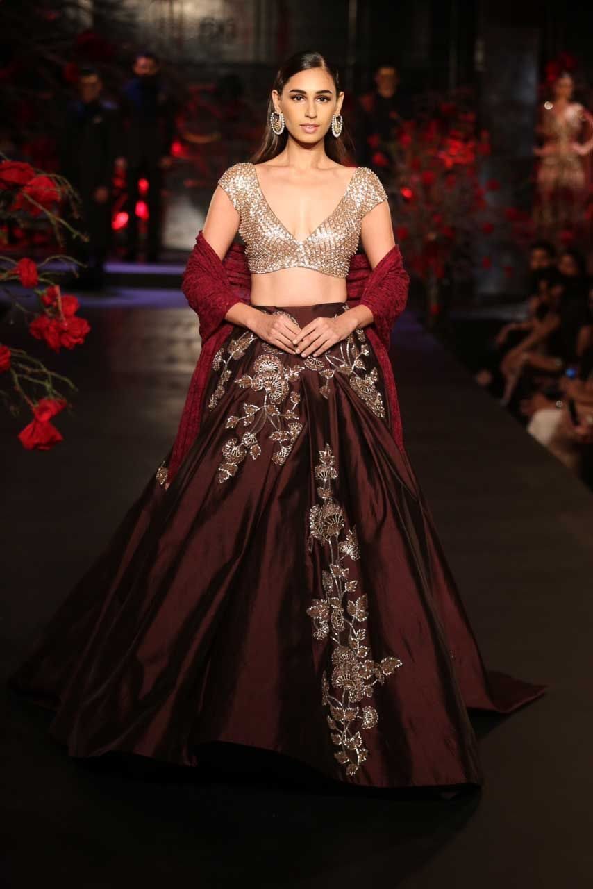 Burgundy Lehenga With Mushroom Floral Motifs Red Dupatta Sequin Silver Blouse