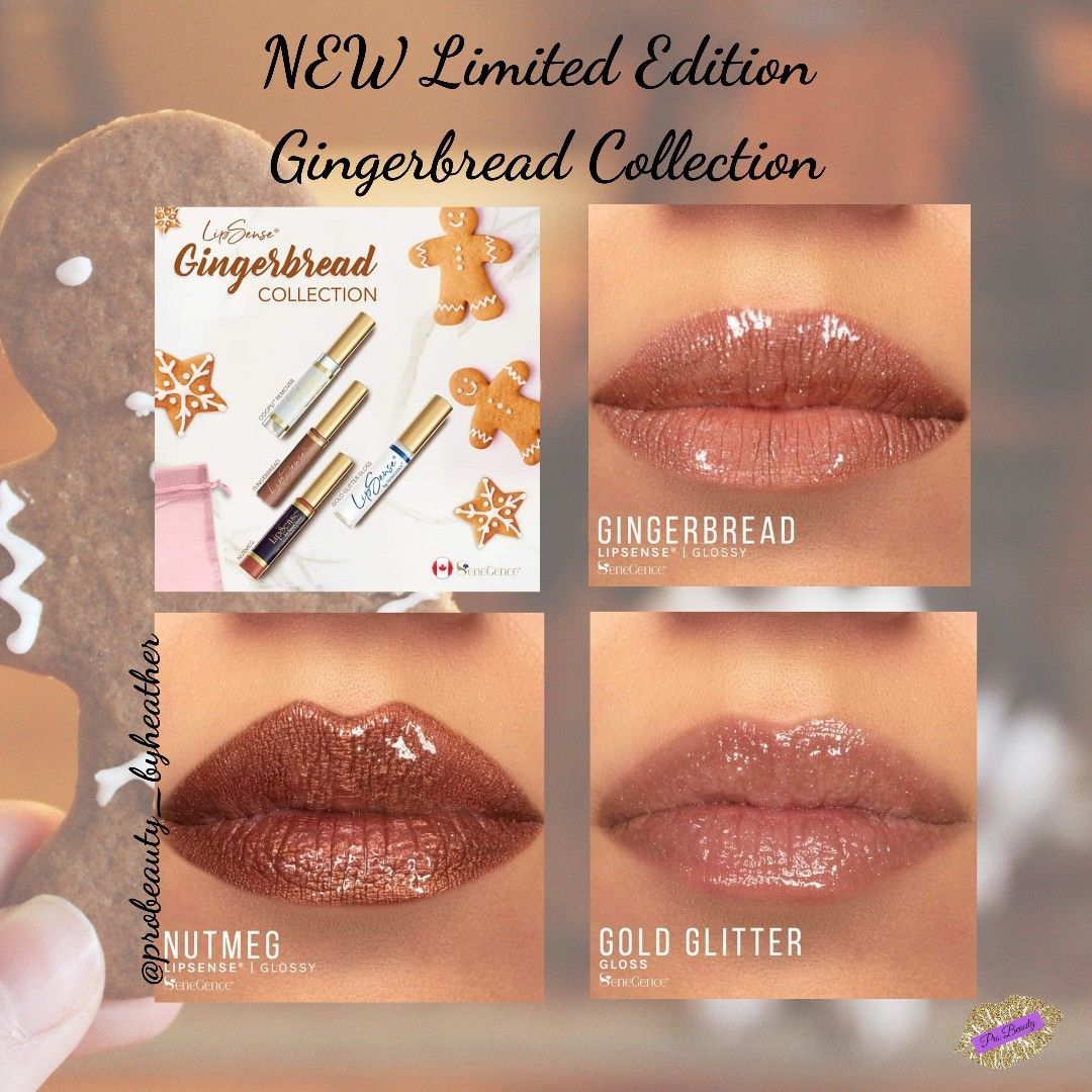 Gingerbread Lipsense Collection  #gingerbreadlipsense Includes Gingerbread Lipsense, Nutmeg Lipsense, Gold Glitter Gloss, Oops remover for $85 CAD #gingerbreadlipsense