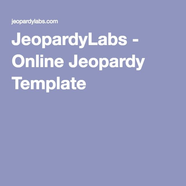JeopardyLabs - Online Jeopardy Template | DLS | Pinterest