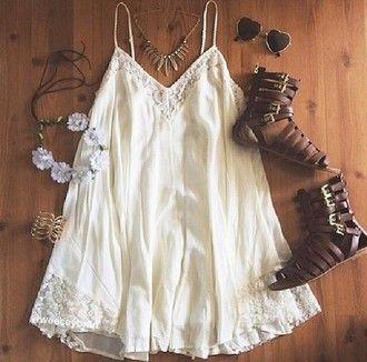 Summer beach dress white shoes