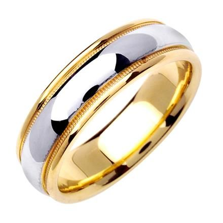 Men S Two Tone Domed Wedding Band In 18k Yellow And White Gold 6 5mm Mens Gold Wedding Band Wedding Ring Bands Womens Wedding Bands