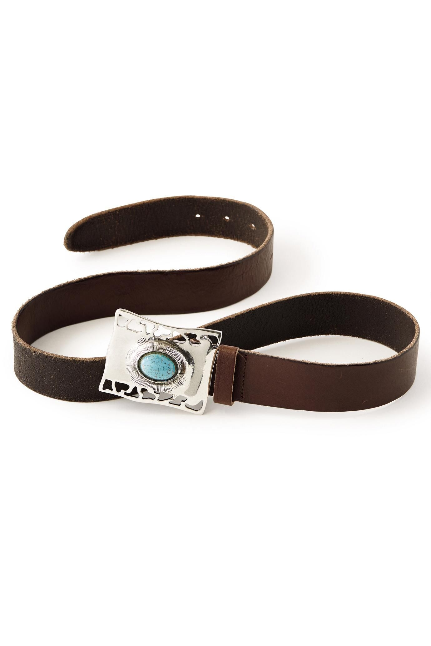 Coronado Leather Belt With Silver & Turquoise Buckle. This rugged leather belt with polished metal buckle was made in USA.