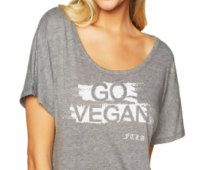 GO VEGAN Off The Shoulder Animal Rights Lightweight Dolman Sleeve Athletic Graphic Tee in Heather Grey - Vegan Shirt Women XS-2XL