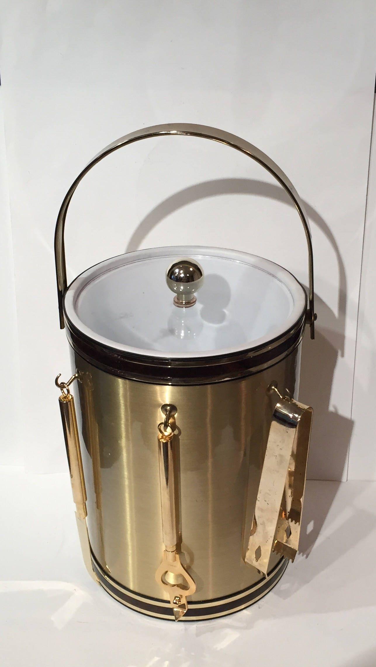 vintage mid century modern ice bucket gold chrome and clear  - vintage mid century modern ice bucket gold chrome and clear acrylic setmad men