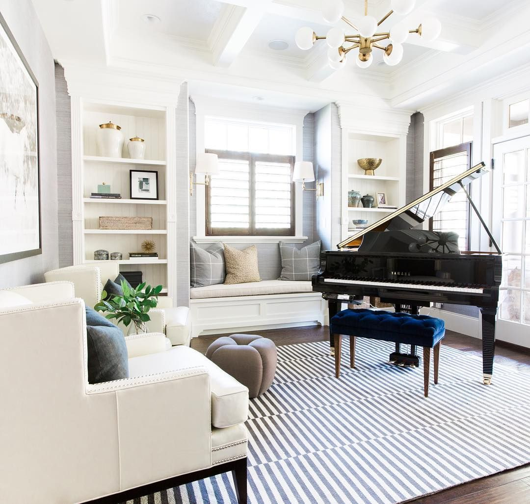 Modern Traditional Mix For The Win Www Studio Mcgee Com Piano Living Rooms Grand Piano Living Room Home Music Rooms