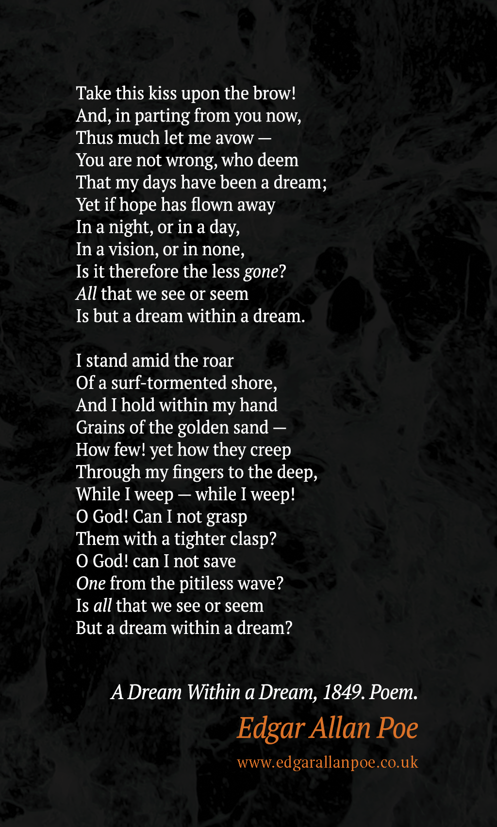 Full Poem Adream Within A Dream Edgar Allan Poe Quote
