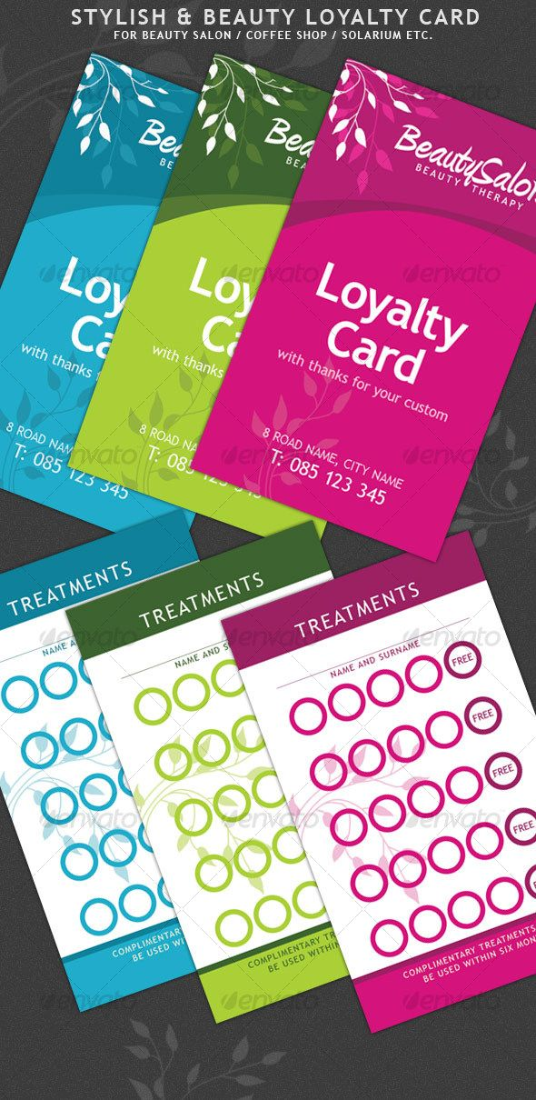 Beauty And Stylish Loyalty Cards Loyalty Card Beauty Salon Marketing Loyalty Card Design