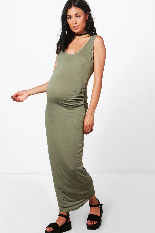 5e7e4f1242 #boohoo Mia Basic Midaxi Dress - khaki BZZ49750 #Maternity Mia Basic Midaxi  Dress - khaki