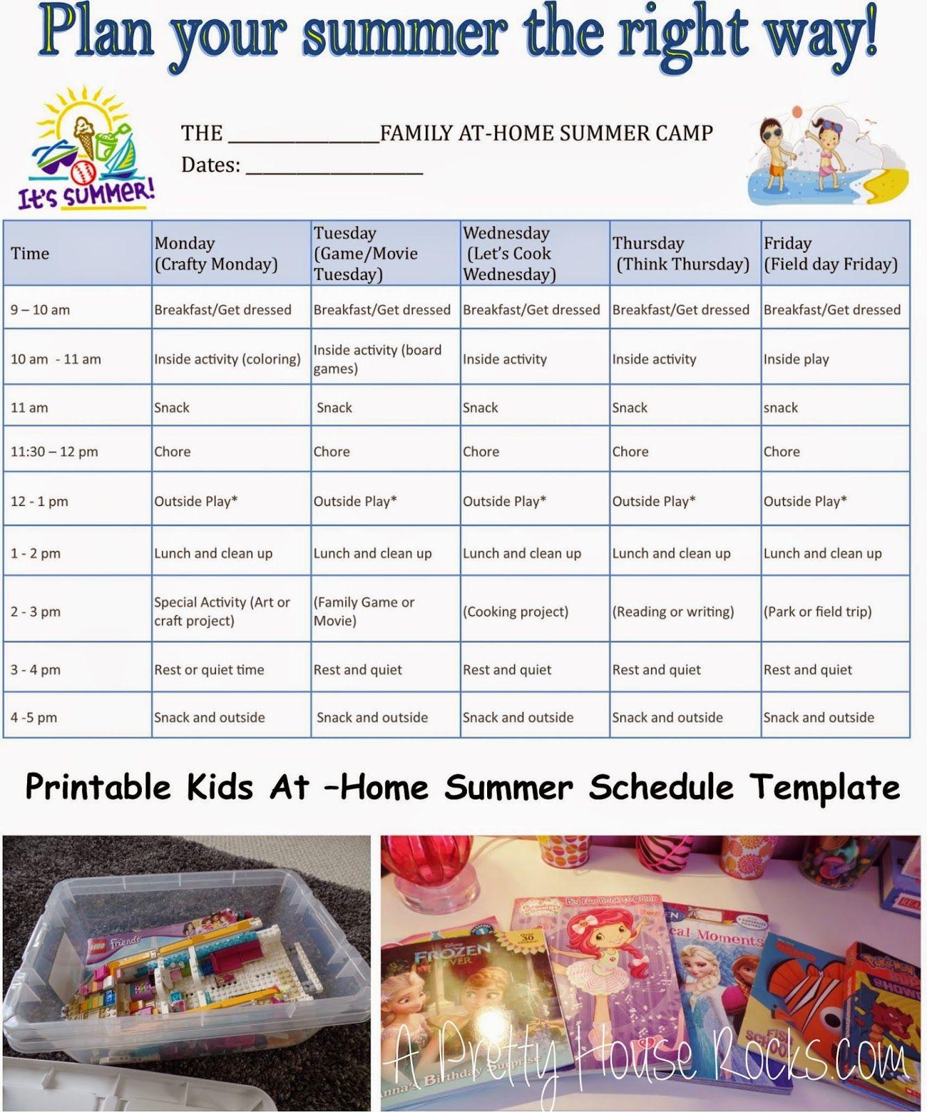 At Home Summer Schedule For Kids Summer Kids Summer