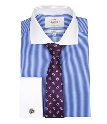 Bright Mens Blue Floral Striped Dress Shirt Formal Business White Contrast Cuff Collar Year-End Bargain Sale Dress Shirts Clothing, Shoes & Accessories
