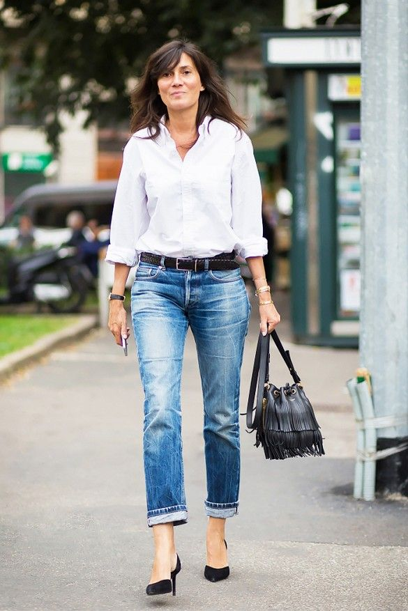 A crisp button down is coupled with cropped denim and polished off with a braided leather belt.
