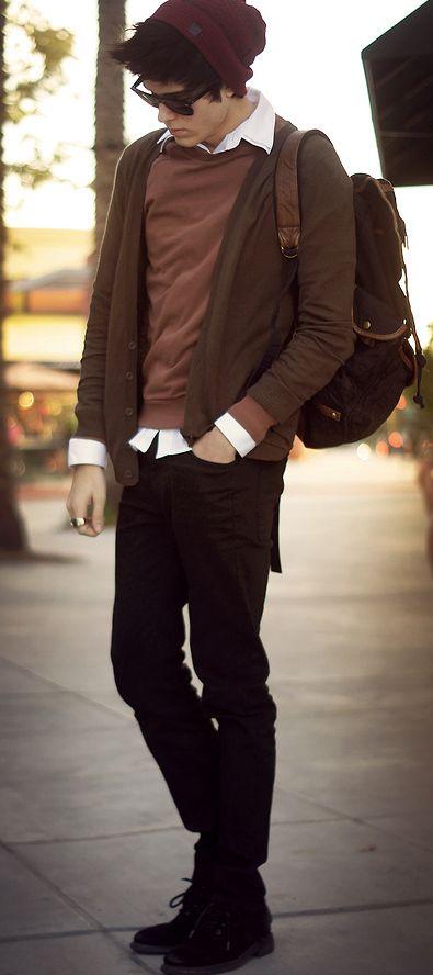 mens fashion, hat, button up sweater, pants, sunglasses, shirt, sweater