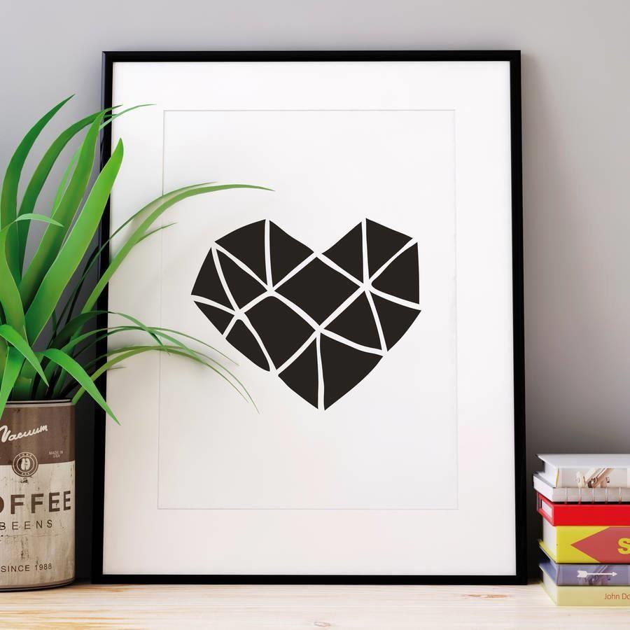 Geometric Love Heart http://www.amazon.com/dp/B01ANUAVWI motivationmonday print inspirational black white poster motivational quote inspiring gratitude word art bedroom beauty happiness success motivate inspire
