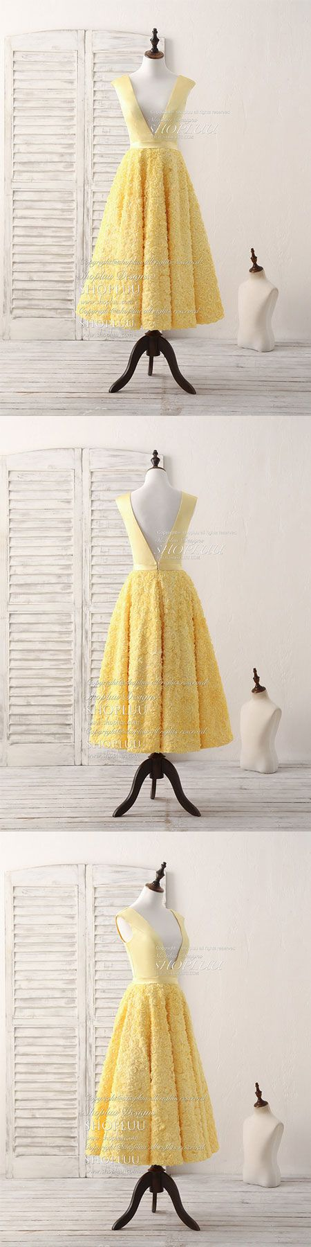 Yellow v neck d lace tea long prom dress yellow evening dress