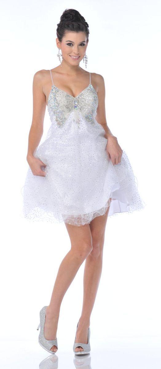 Spaghetti Strap Sparkly Short Prom Dresses