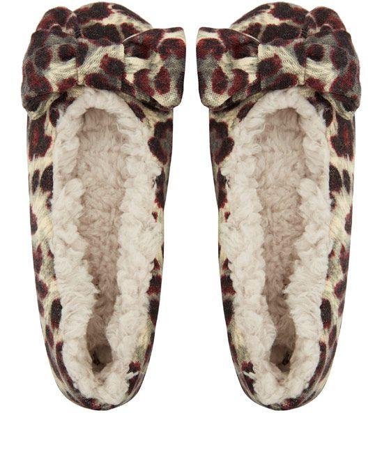 Ruby And Ed Beige Leopard Velvet Bow Ballerina Slippers