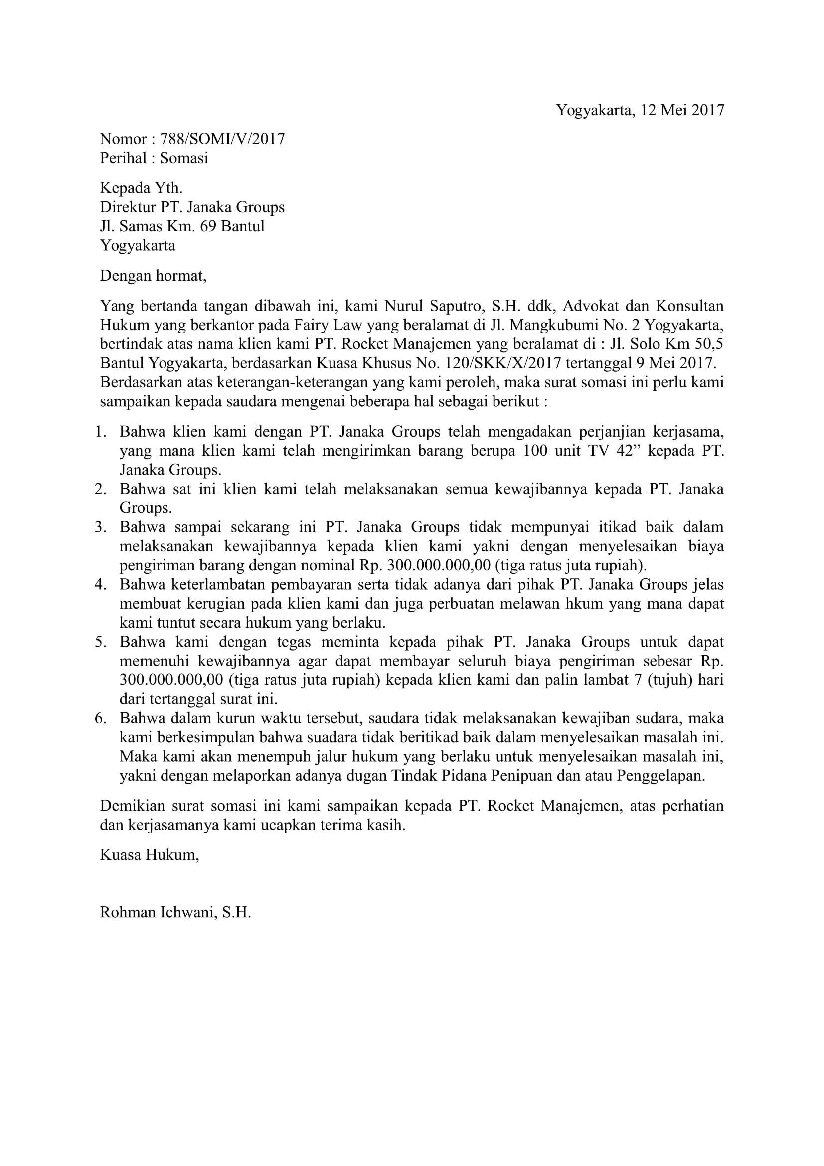 Contoh Surat Somasi Hutang Pribadi Surat Gambar Tanda