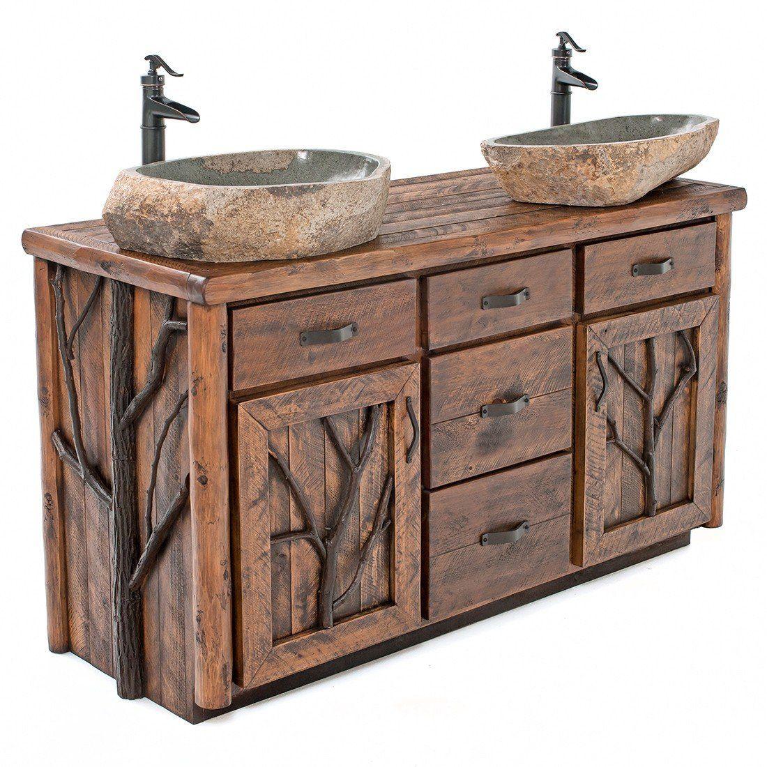 Woodland Forest Log Vanity With Tree Accents 48 To 72 Wide Rustic Bathrooms Rustic Bathroom Sinks Rustic Bathroom Vanities