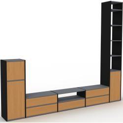 Photo of Wohnwand Schwarz – Individuelle Designer-Regalwand: Schubladen in Eiche & Türen in Eiche – Hochwerti