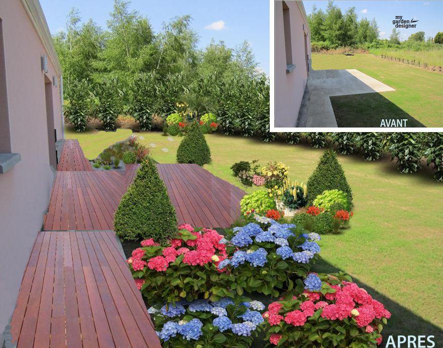 am nagement jardin et terrasse avant apres avec my garden designer jardin pinterest. Black Bedroom Furniture Sets. Home Design Ideas