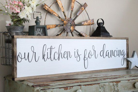 Our kitchen is for dancing wood sign wall decor inspirational home be happy housew also rh pinterest