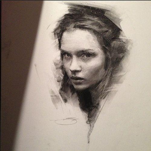 Portrait Drawings of Charcoal Studies