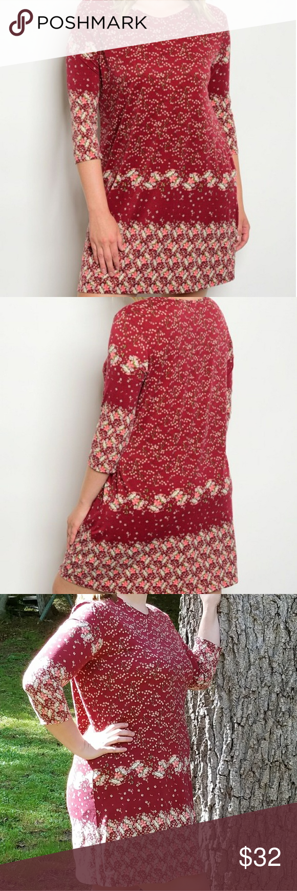Plus Size 3/4 Sleeve floral Tunic Dress. Boutique floral burgundy dress  94% polyester 6% spandex 1x 21.5 inches underarm to underarm 27.5 inches underarm to hem 2x 22.5 inches underarm to underarm 28.5 inches under arm to hem Dresses