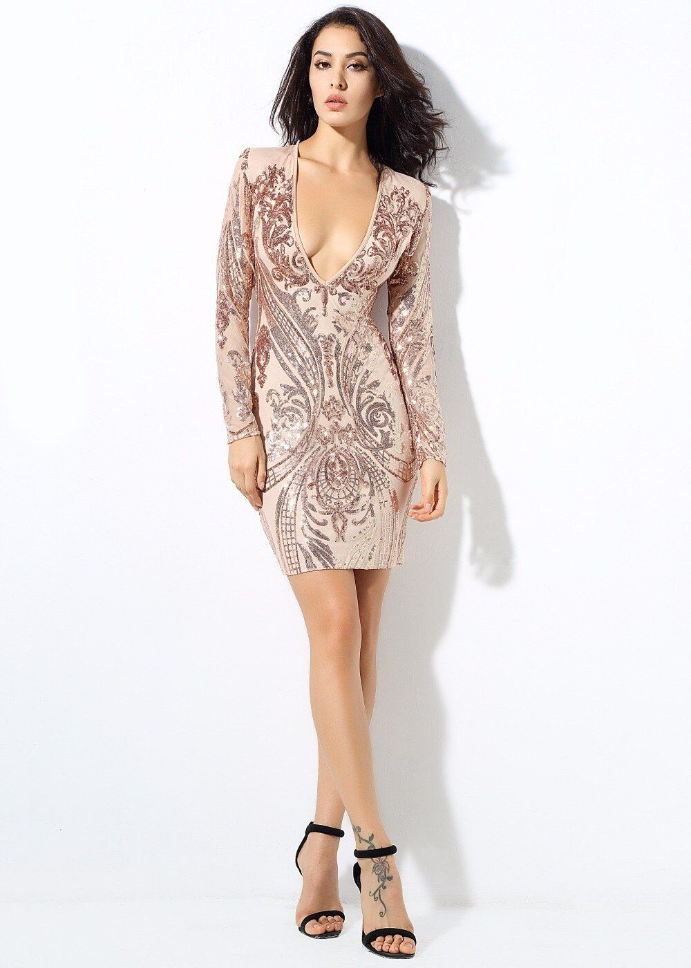 Honey crush rose gold sequin long sleeve mini dress with