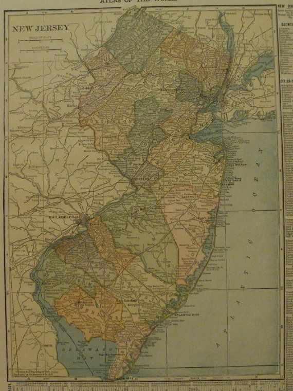 New Jersey MapTrenton Paterson Atlantic City Camden NewarkUSA - 8x11 us state map