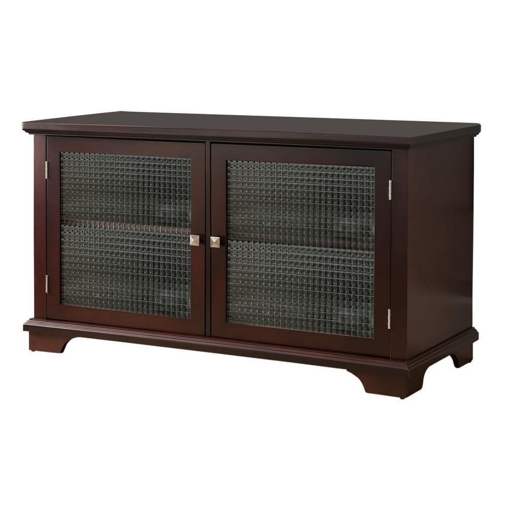 Kings Brand Furniture Walnut Finish Wood Glass Door Storage Console Tv Stand Brown Wood Glass Door Wood Glass Door Storage